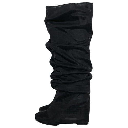 Pre-owned Mm6 Maison Margiela Black Leather Ankle Boots