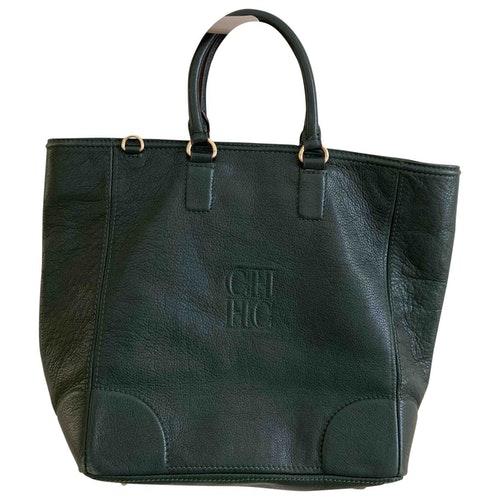 Pre-owned Carolina Herrera Green Leather Handbag