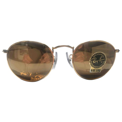 Pre-owned Ray Ban Round Gold Metal Sunglasses