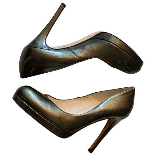 Pre-owned Lk Bennett Khaki Patent Leather Heels