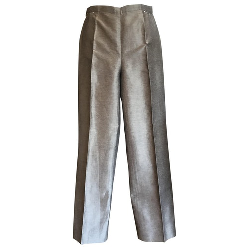 Pre-owned Max Mara Grey Linen Trousers