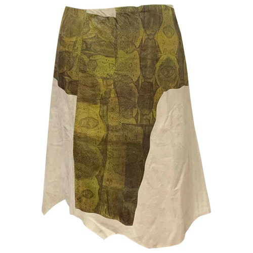 Pre-owned Dkny Beige Leather Skirt