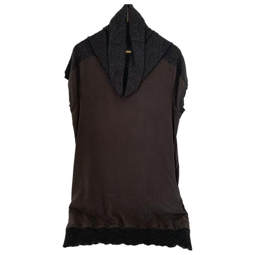Pre-owned Trussardi Jeans Brown Silk Dress