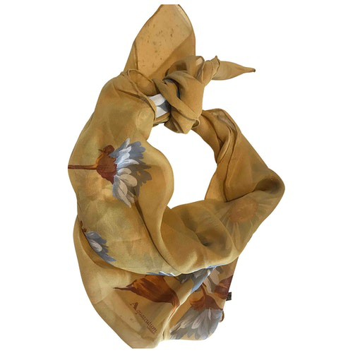 Pre-owned Aquascutum Yellow Silk Scarf