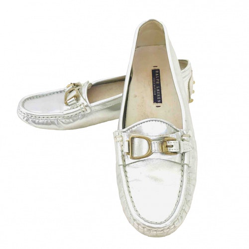 Pre-owned Ralph Lauren Silver Leather Flats
