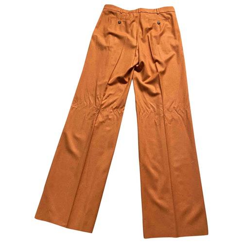 Pre-owned Max Mara Orange Wool Trousers