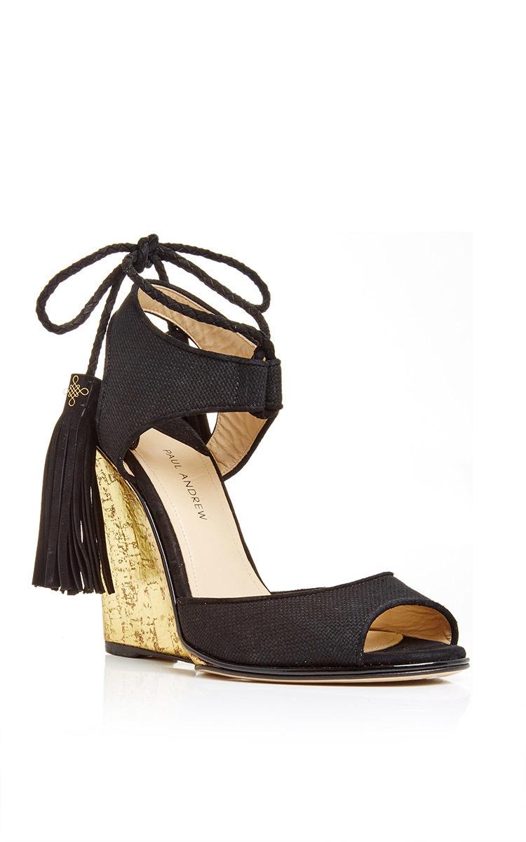 ebbd8550afa Tianjin Glitter Wedge Heels With Tasseled Ankle Tie