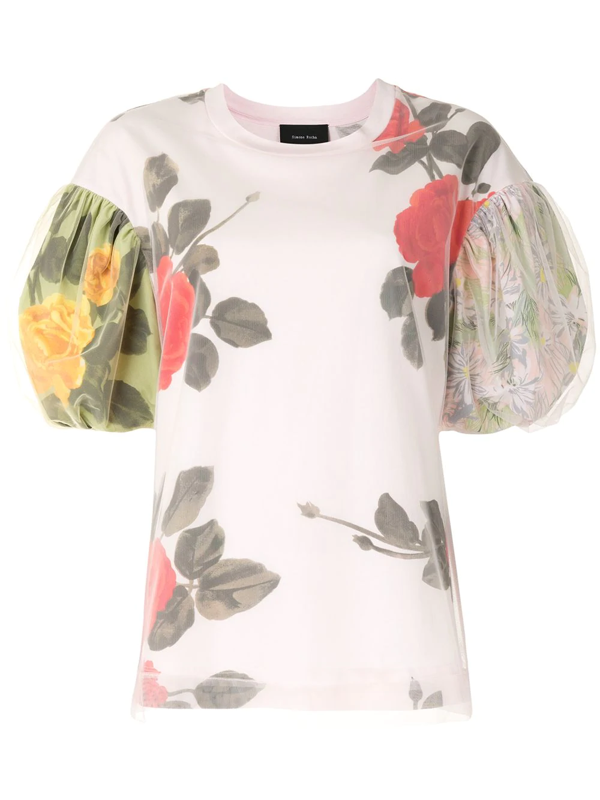 Simone Rocha Floral Tulle And Cotton T-shirt In Pink