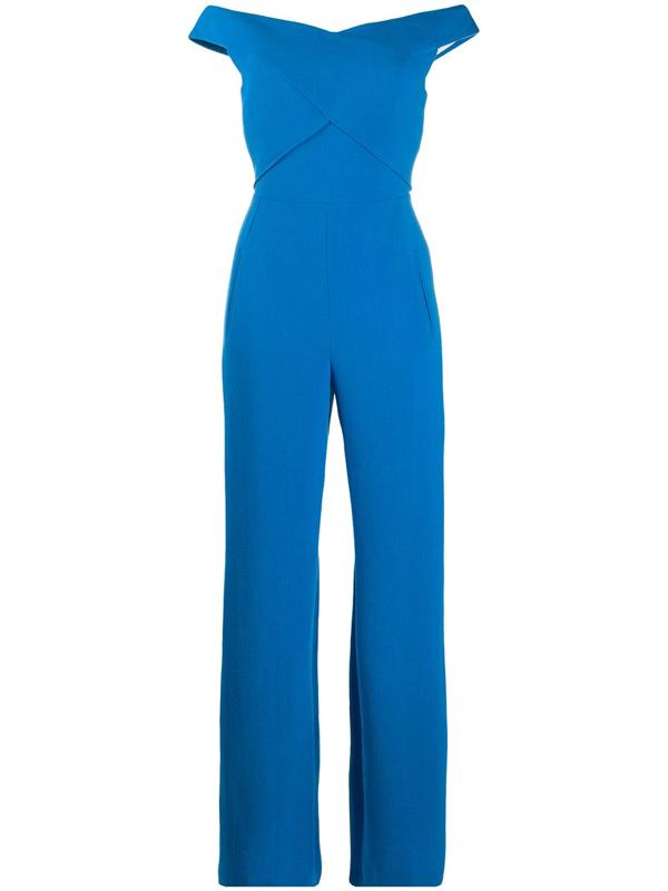 Roland Mouret Harran Blue Wool-crepe Jumpsuit