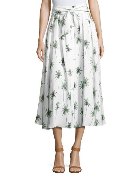 8650744c4f Milly Palm Tree-Print Italian Cady Midi Skirt In Multi | ModeSens