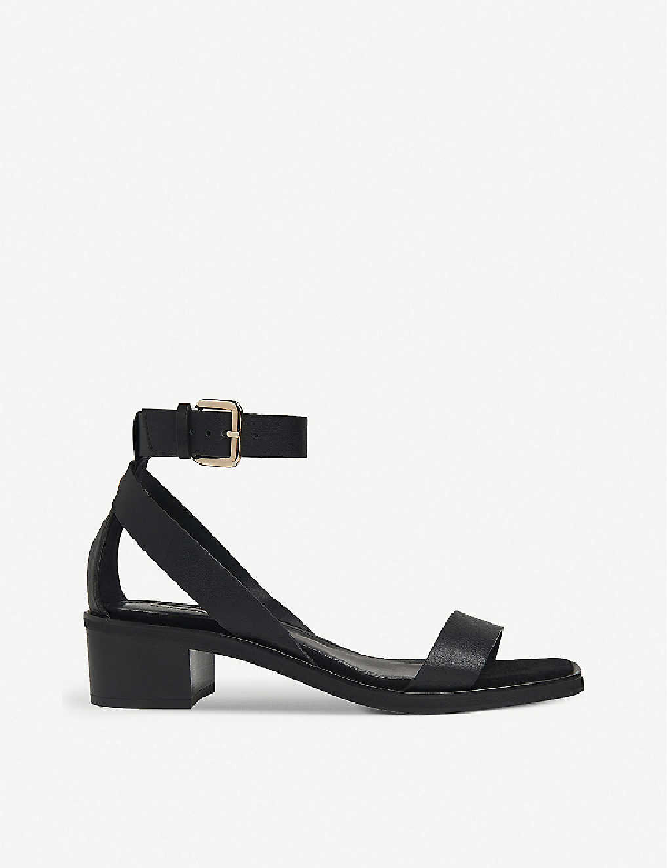 Whistles Campbell Block-heel Leather Sandals In Black