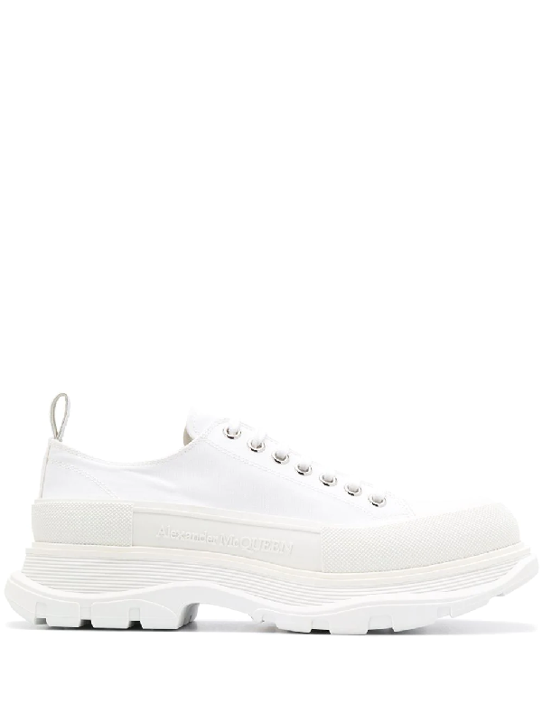 Alexander Mcqueen White Cotton Canvas Chunky Sneakers Ss 2020
