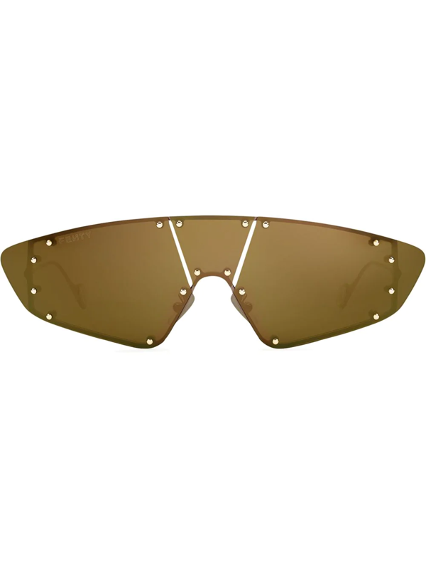 Fenty Women's Techno 99mm Mask Sunglasses In Gold
