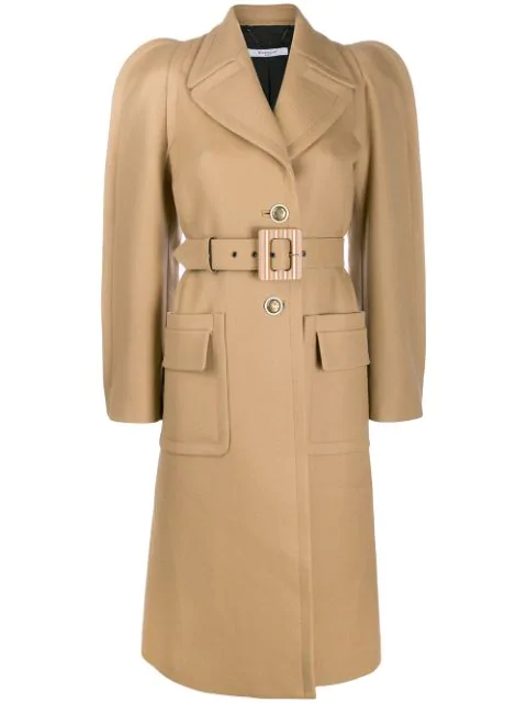 Givenchy Exaggerated-shoulder Belted Wool-blend Coat In Brown