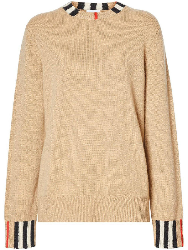 Burberry Eyre Check Detail Cashmere Sweater In Archive Beige
