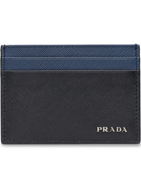 Prada Saffiano Leather Card Case In Black
