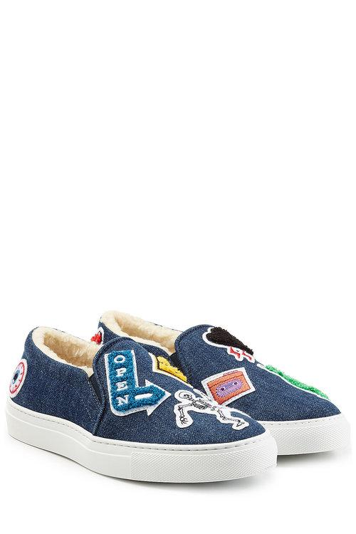 Joshua Sanders Denim Slip On Sneakers With Patches In Blue