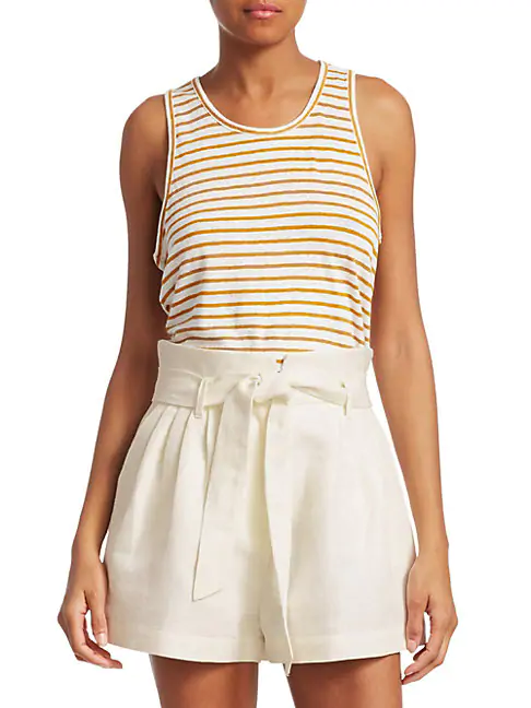 Frame Linen Striped Tank Top In Marigold Multi