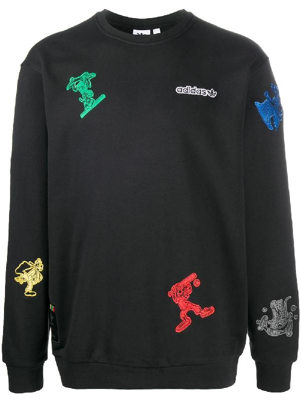 Adidas Originals Adidas Men's Originals X Disney Sport Goofy Crewneck Sweatshirt In Black