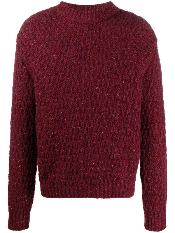 Marni Chunky Knit Crew Neck Sweater In Red