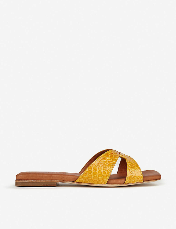 Whistles Tabitha Croc-embossed Leather Sliders