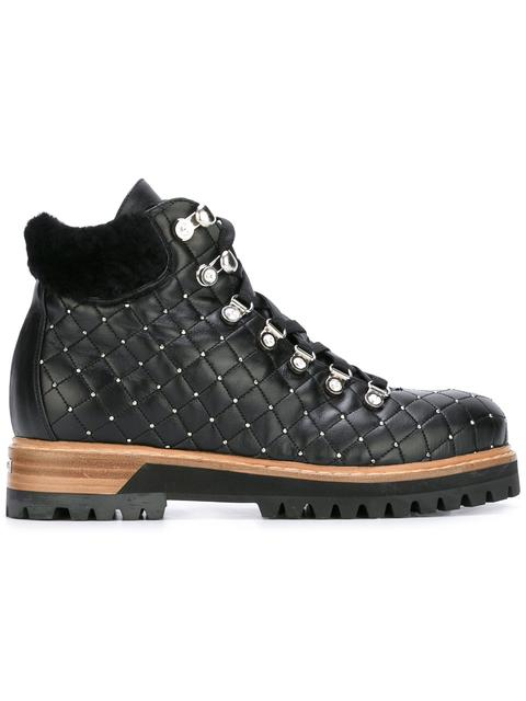 Le Silla Quilted Leather Trekking Boot In Chiffon, Soft Calfskin And Crystals In Black/Silver Colour In 294
