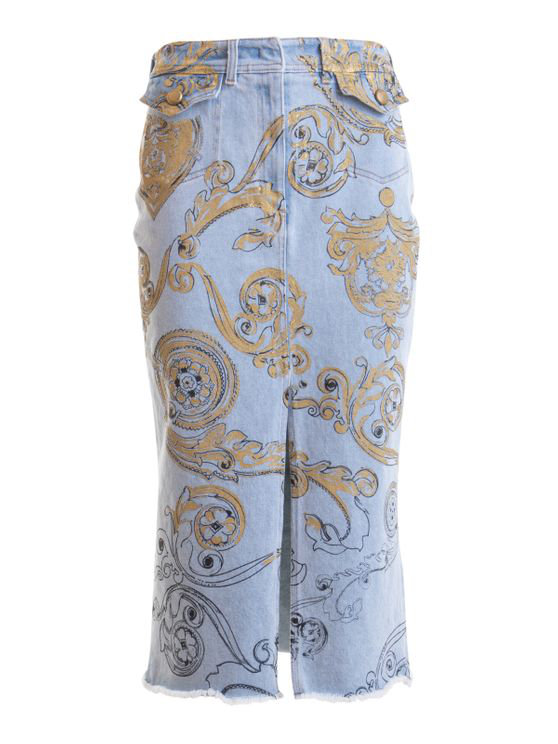 Versace Jeans Couture Patterned Denim Pencil Skirt In Blue