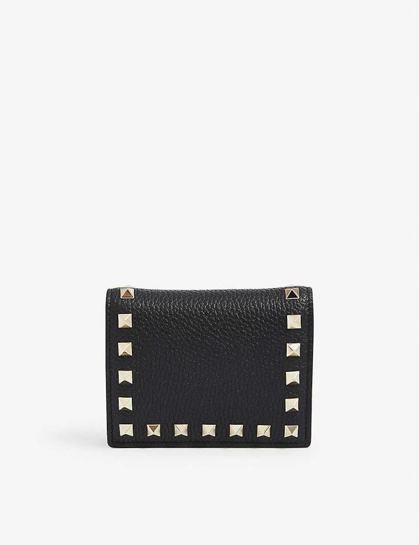 Valentino Garavani Rockstud Leather Wallet In Black