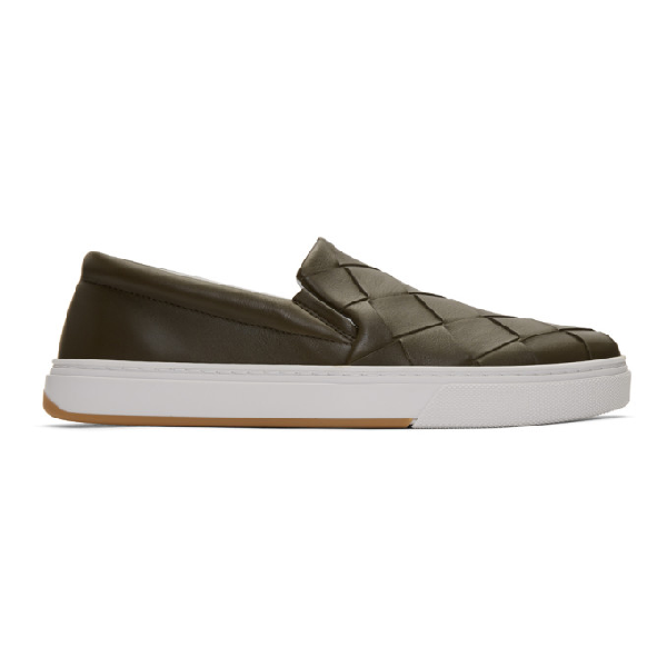 Bottega Veneta Intrecciato-weave Slip-on Leather Trainers In 3357 Khaki