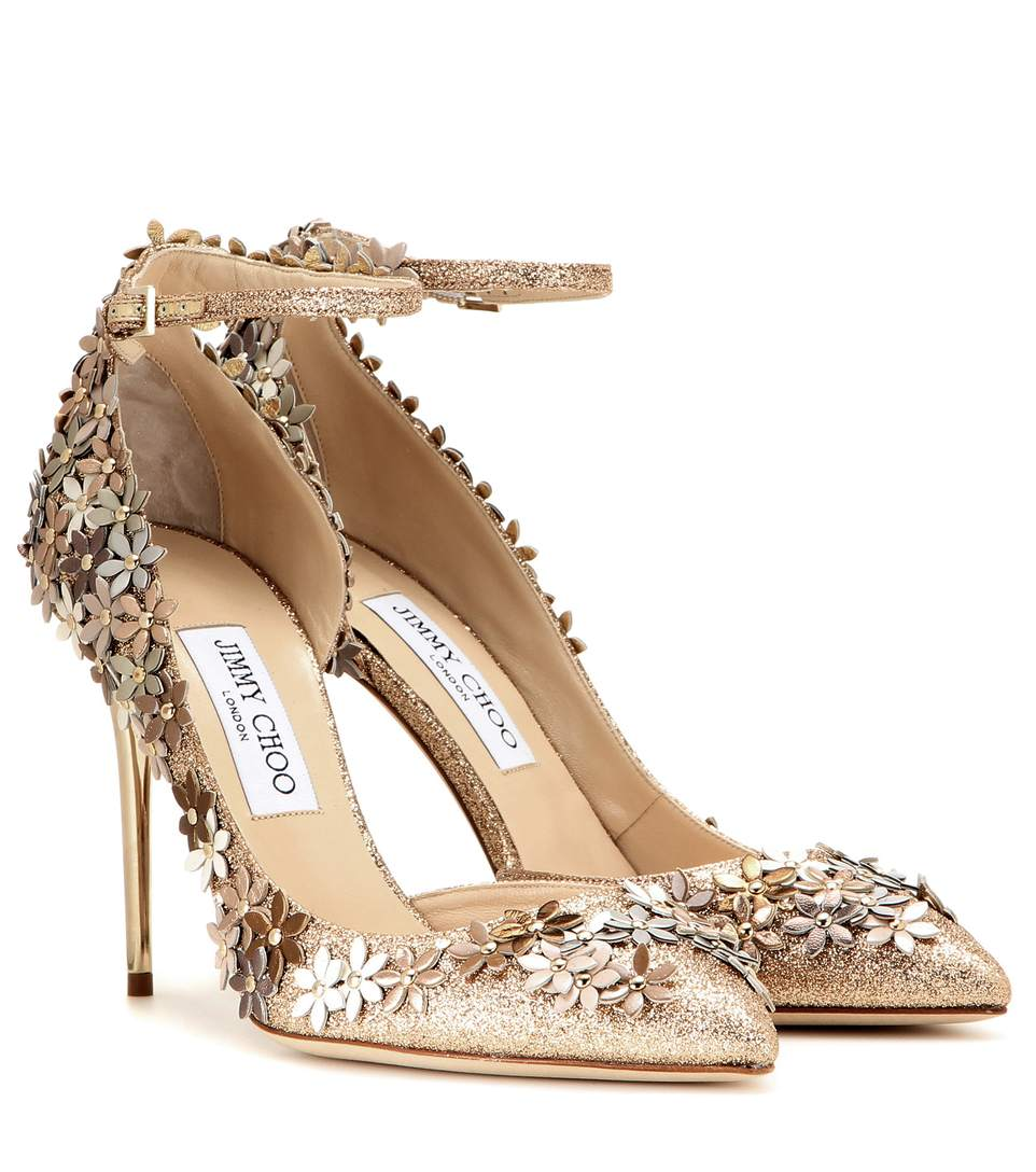 994d79ca77b Jimmy Choo Lorelai 100 Floral Glittered Leather Ankle-Strap Pump  In ...