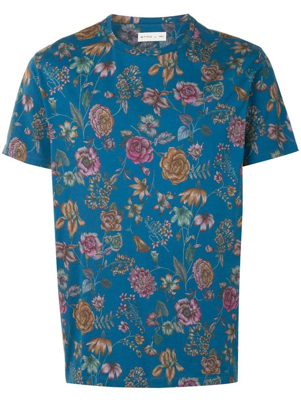 Etro Floral Print Cotton T-shirt In Blue