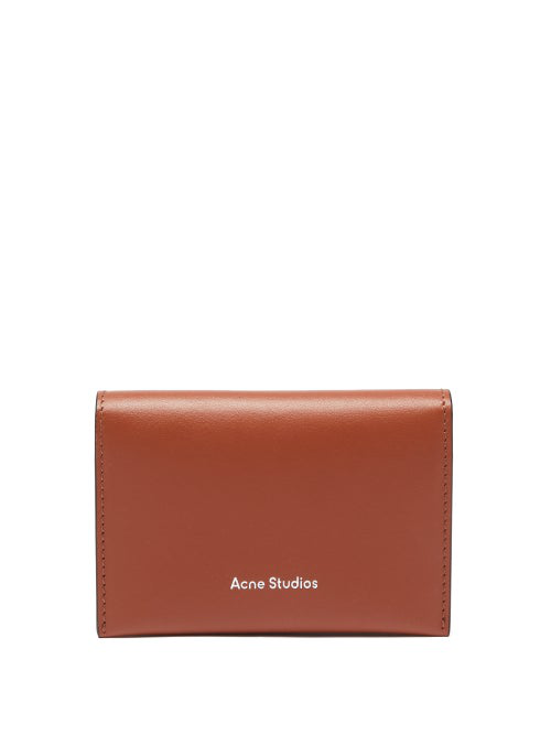 Acne Studios Logo-embossed Leather Bi-fold Cardholder In Tan