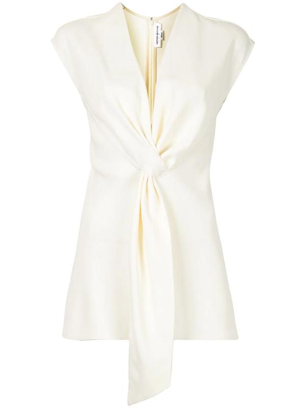 Victoria Beckham Women's Draped Tie Tux Top In White