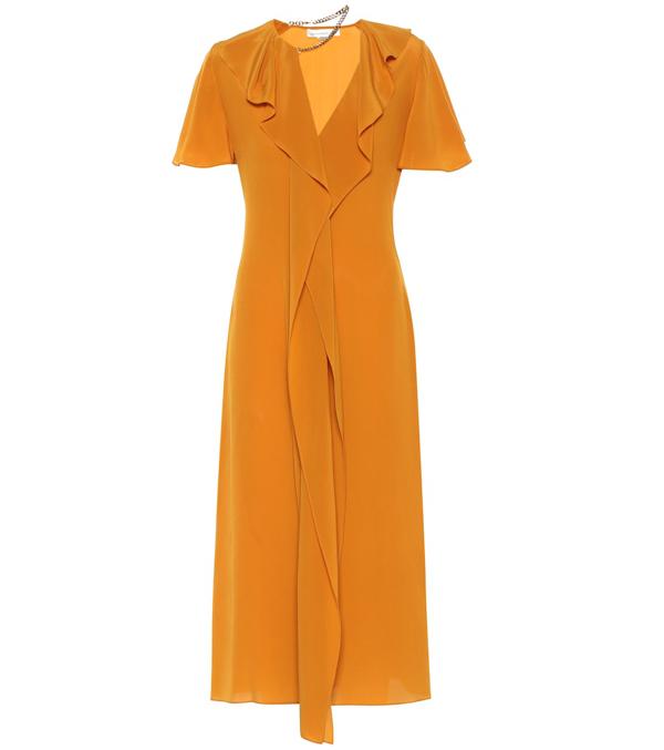 Victoria Beckham Chain Ruffle Detail Short Sleeve Silk Midi Dress In Orange