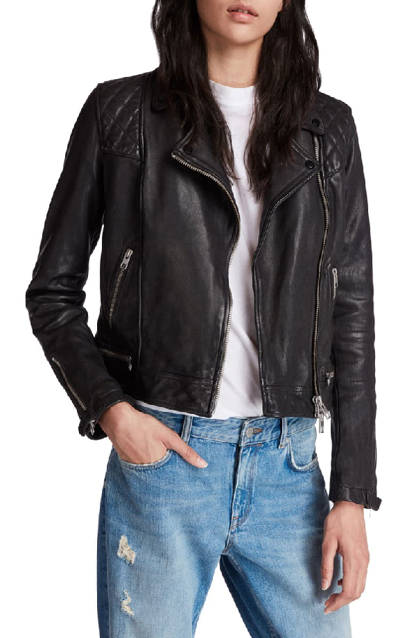Allsaints Conroy Quilted Leather Biker Jacket In Ink