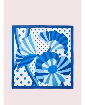 Kate Spade Geo Bloom Silk Square Scarf In Blue Marin