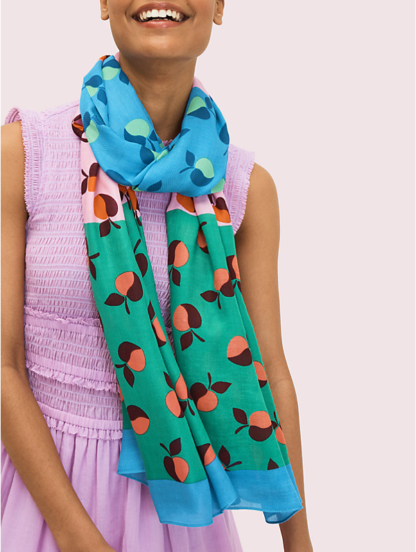 Kate Spade Colorblock Apples Oblong Scarf In Blue Marine