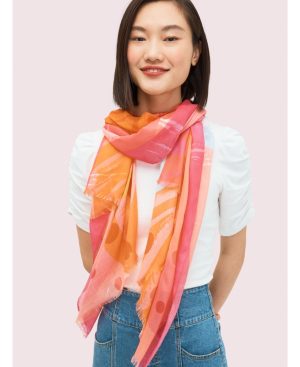 Kate Spade Abstract Cocktail Oblong Scarf In Shrimp Cocktail