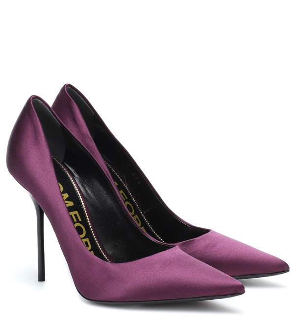 Tom Ford Satin Pumps In Purple