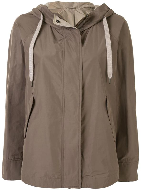 Brunello Cucinelli Long-sleeve Hooded Jacket In Brown