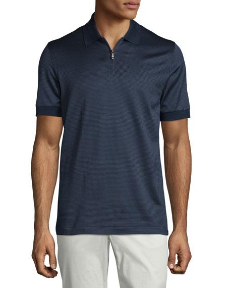 f2e6aaa5 Brioni Micro-Grid Jacquard Quarter-Zip Polo Shirt, Navy/Aqua | ModeSens