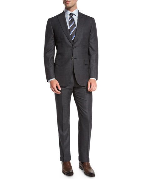 Brioni Herringbone Striped Wool Two-Piece Suit In Gray