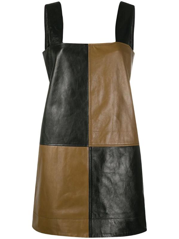Ganni Patchwork Leather Minidress In Black