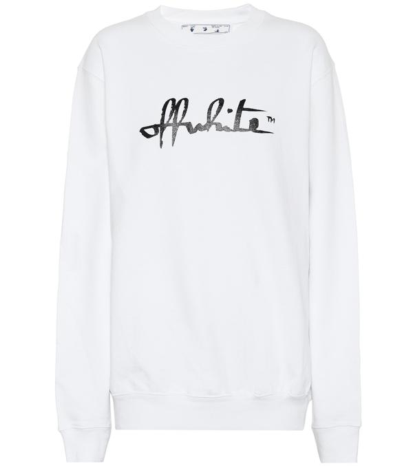 Off-white Script 21 Sweatshirt In White Cotton