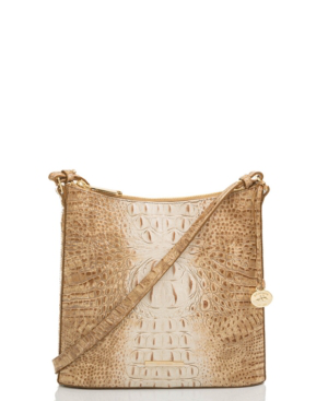 Brahmin Katie Croc Embossed Leather Crossbody Bag In Praline