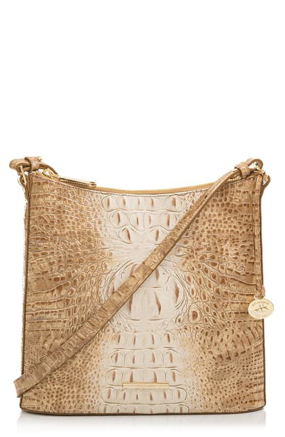 Brahmin Katie Croc Embossed Leather Crossbody Bag In Praline Ombre Melbourne