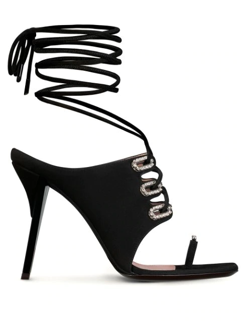 Fenty Cowgirl Hookup 105mm Sandals In Black
