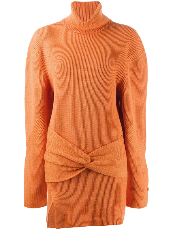Fenty Turtleneck Knit Mini Dress In Orange