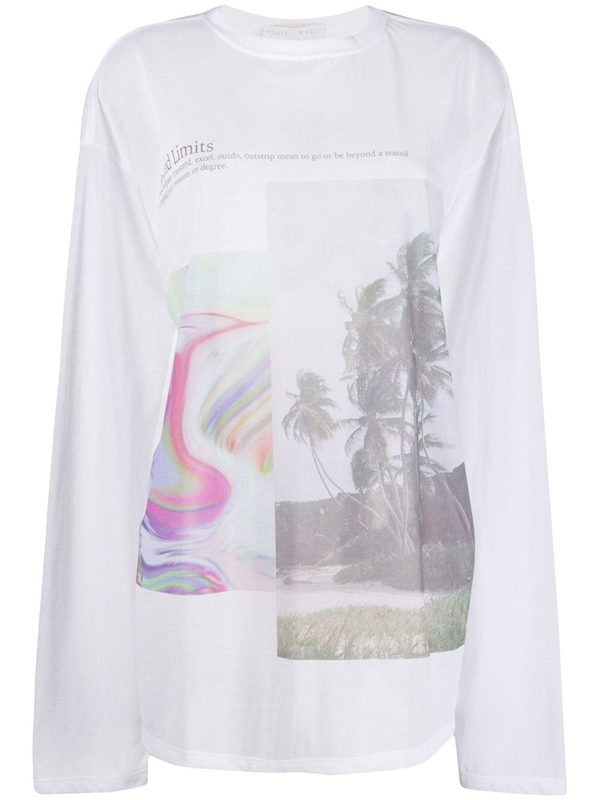 Fenty Immigrant Print Long-sleeve T-shirt In White