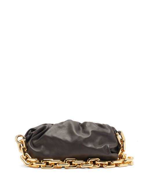 Bottega Veneta The Chain Pouch Leather Clutch Bag In Brown Gold